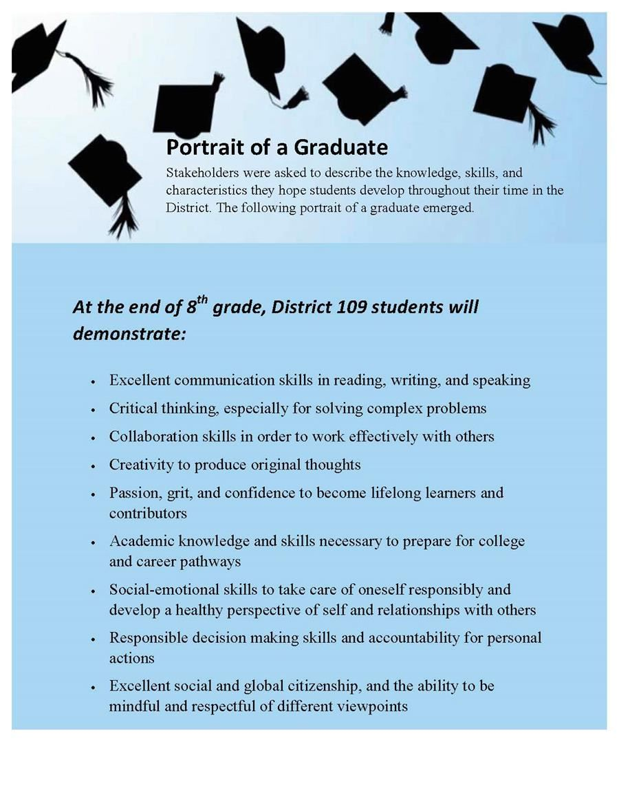 List of characteristics of a District 109 graduate.