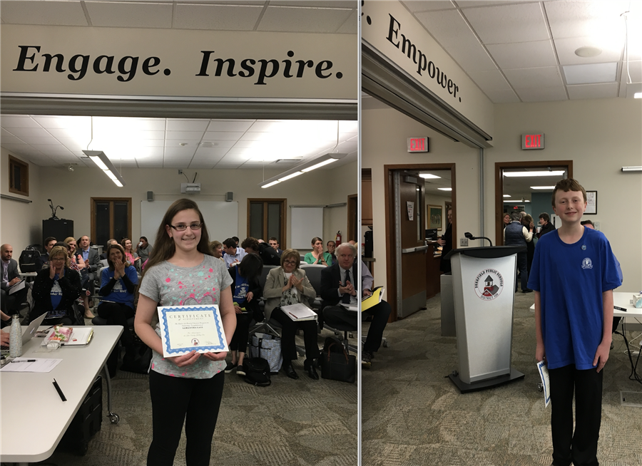 Students honored by the board for achievements in the spelling bee and geography bee