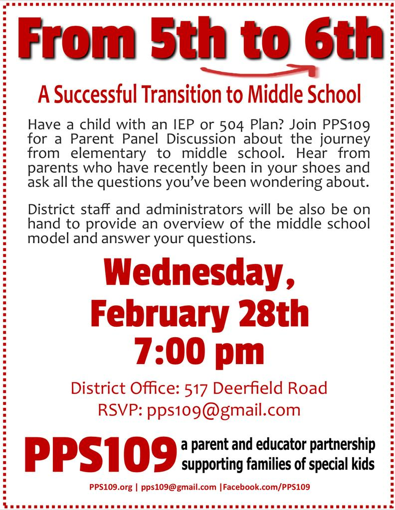 PPS Program for 5th Grade Families: Transition to Middle School